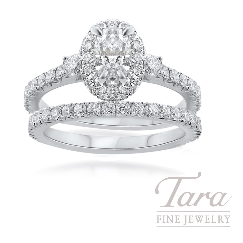 18k White Gold Oval-shape Diamond Wedding Set, .63CT Oval-shape Forevermark Diamond, 1.34TDW (Center Stone Sold Separately)