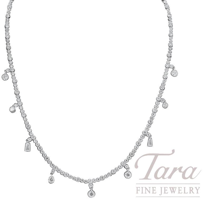 Norman Covan 18K White Gold Diamond Necklace, 175 Round Diamonds 5.75TDW, 2 Baguette Diamonds 0.20TDW