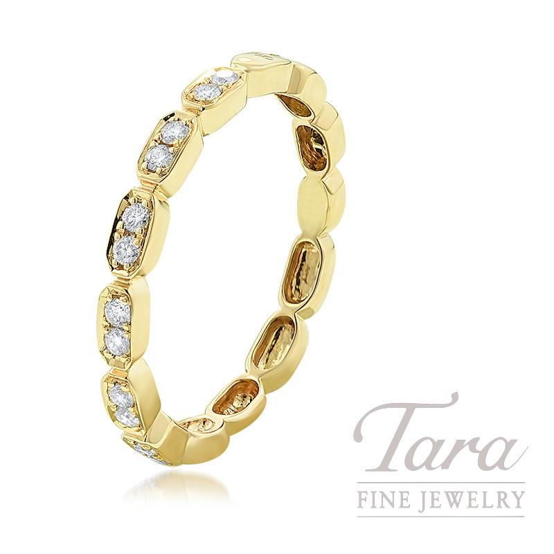 18k Yellow Gold Diamond Cluster Stackable Ring, 2.0G, .17TDW
