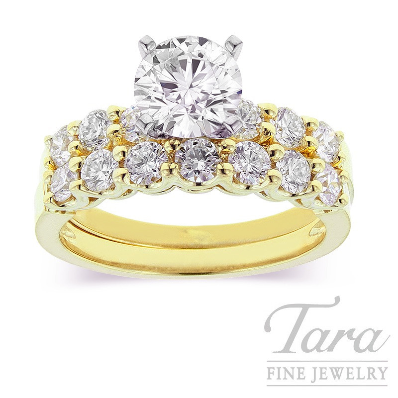 Diamond Wedding Set in 18K Yellow Gold .96TDW (Center Stone Sold Separately)