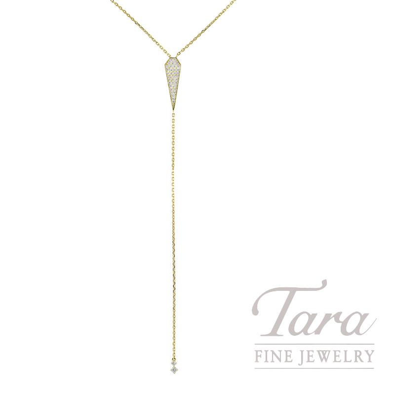 18K Yellow Gold Pave Lariat Diamond Necklace, 5.1G, .55TDW
