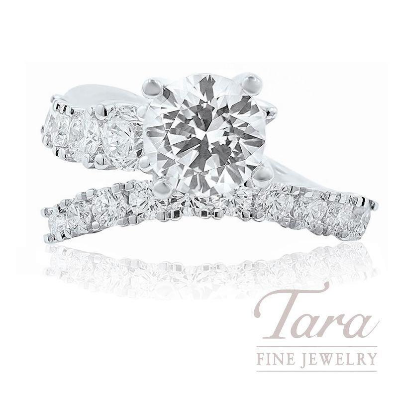 18K White Gold Diamond Spiral Engagement Ring, 4.2G, 1.14TDW (Center Stone Sold Separately)