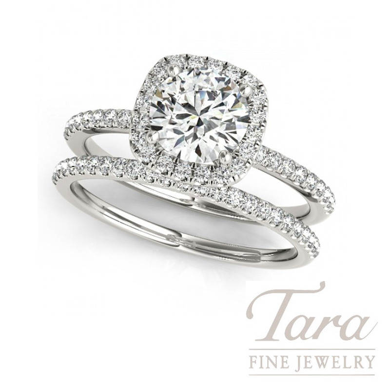 18K White Gold Diamond Halo Wedding Set, 5.5g, .77TDW (Center Stone Sold Separately)