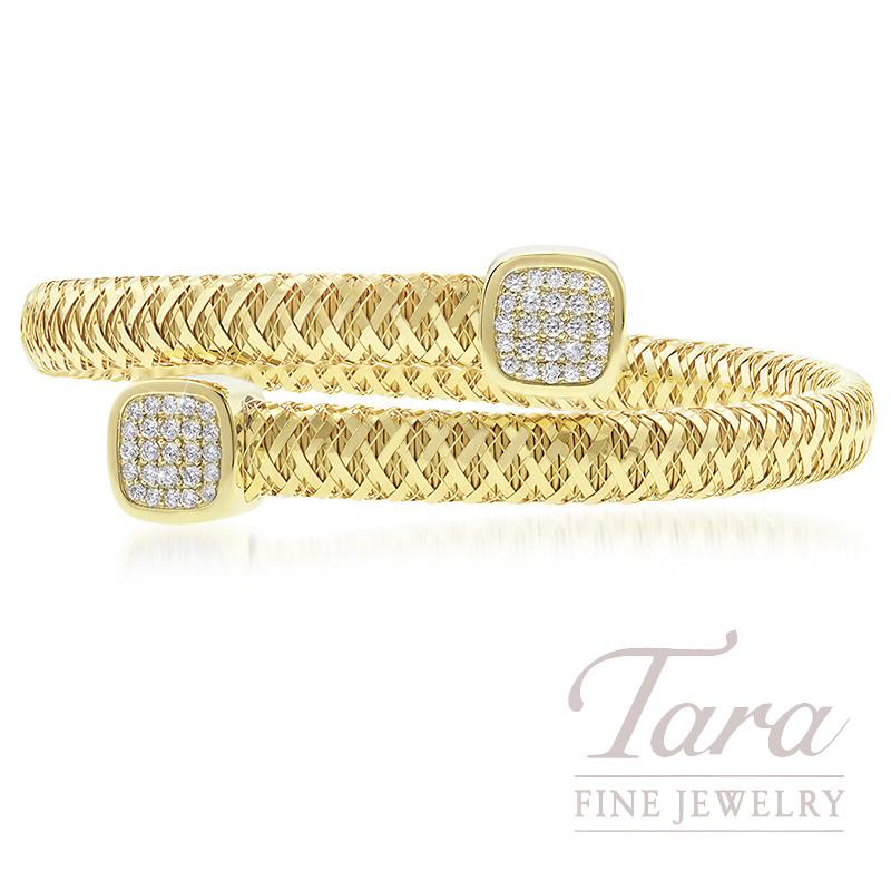 Roberto Coin 18k Yellow Gold Primavera Pave Diamond Off Set Flex Bracelet 60tdw