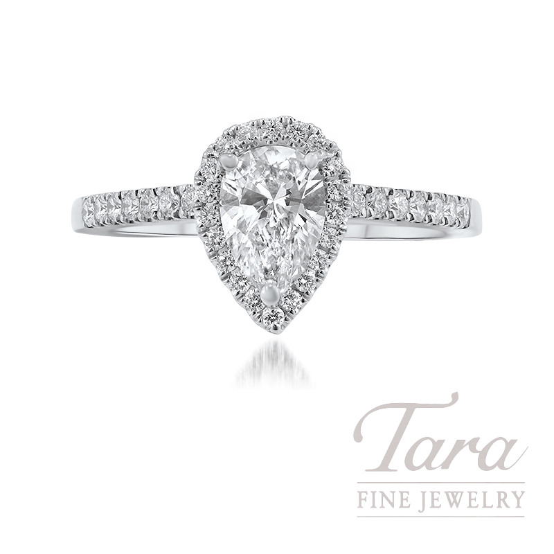 Forevermark 18k White Gold Pear-shape Diamond Halo Engagement Ring, .71CT Pear-shape Diamond, 3.4G, .26TDW