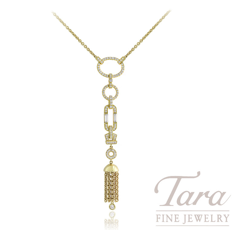 "Norman Covan 18k Yellow Gold Diamond Dangle Necklace, 16"" Chain, 16.1G, .28TDW Baguette Diamonds, .86TDW Round Diamonds"