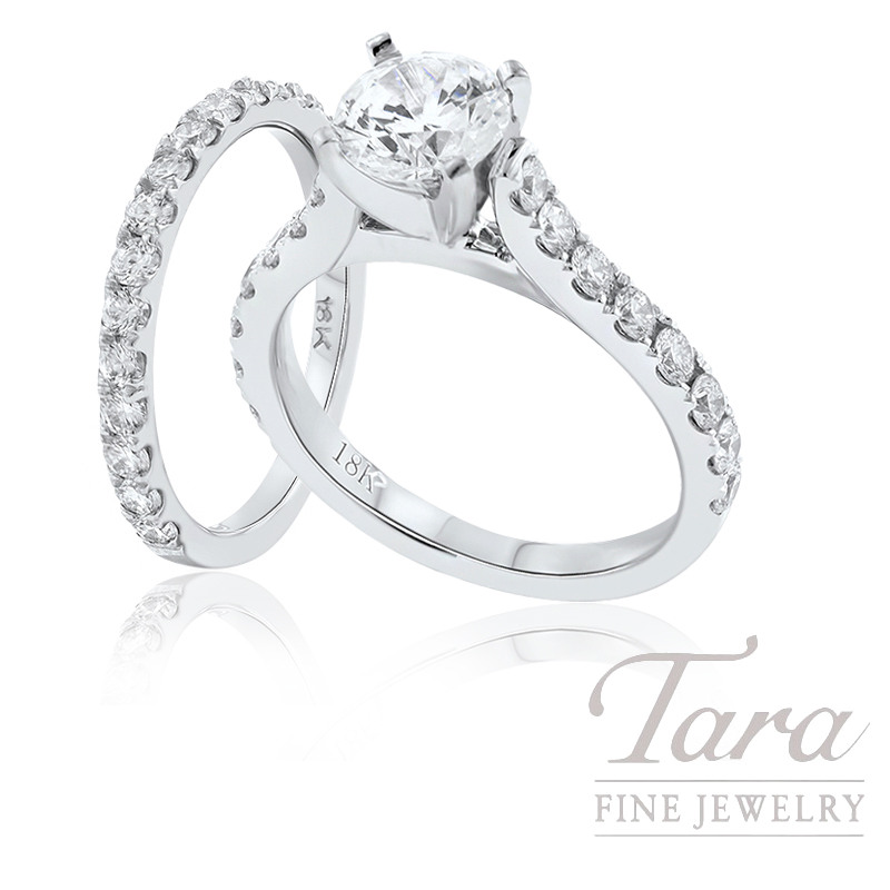 18K White Gold Diamond Wedding Set, 1.51TDW (Center Stone Sold Separately)