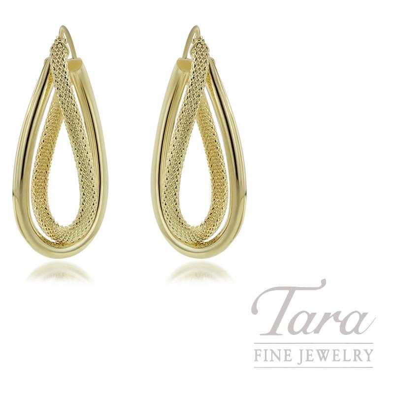 14K Yellow Gold Fancy Hoop Earrings 2.5G