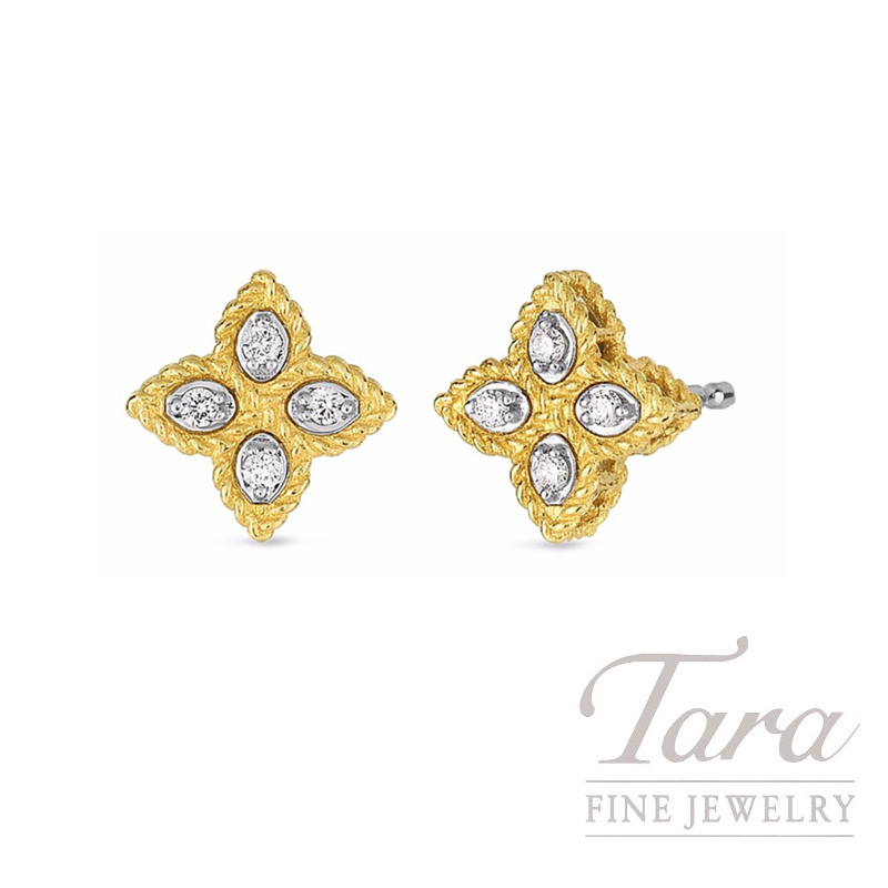f2221afbb Roberto Coin 18k Yellow Gold Small Princess Flower Diamond Stud Earrings,  .07TDW
