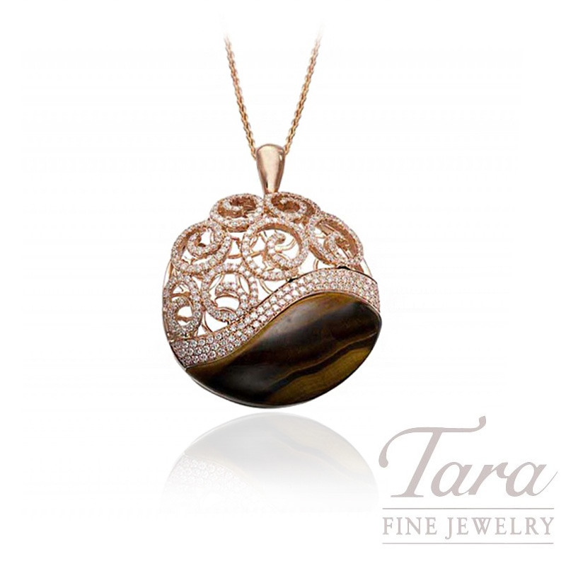 18k Rose Gold Tiger's Eye & Diamond Pendant with Chain, 18.1g, 8.5CT Tiger's Eye, 1.79TDW