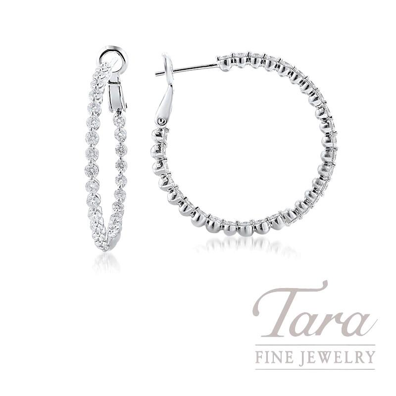 18K White Gold Diamond Hoop Earrings, 2.95TDW