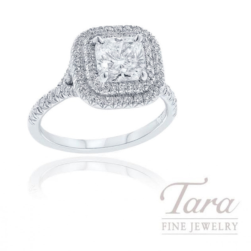 18K White Gold Double Halo Cushion Diamond Engagement Ring - Click for Available Sizes!