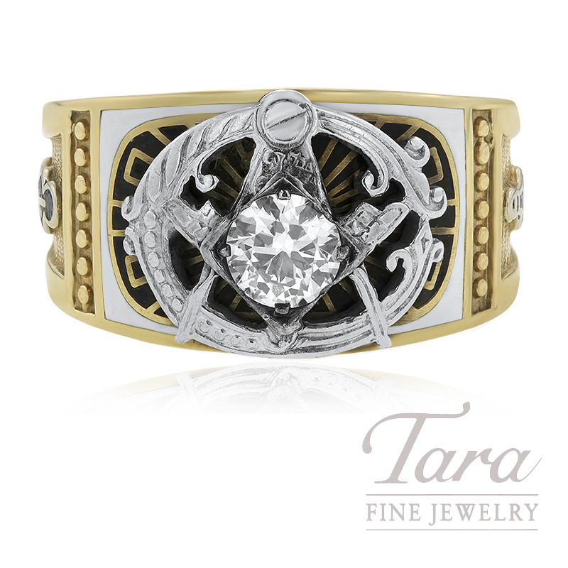 10K Yellow Gold and Diamond Masonic Ring .55 Round Diamonds With Enameling 8.6G