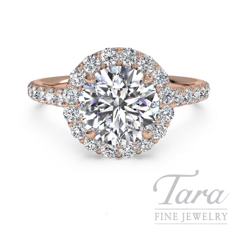 Ritani 18k Rose Gold Diamond Halo Engagement Ring, 2.6G, .40TDW (Center Stone Sold Separately)
