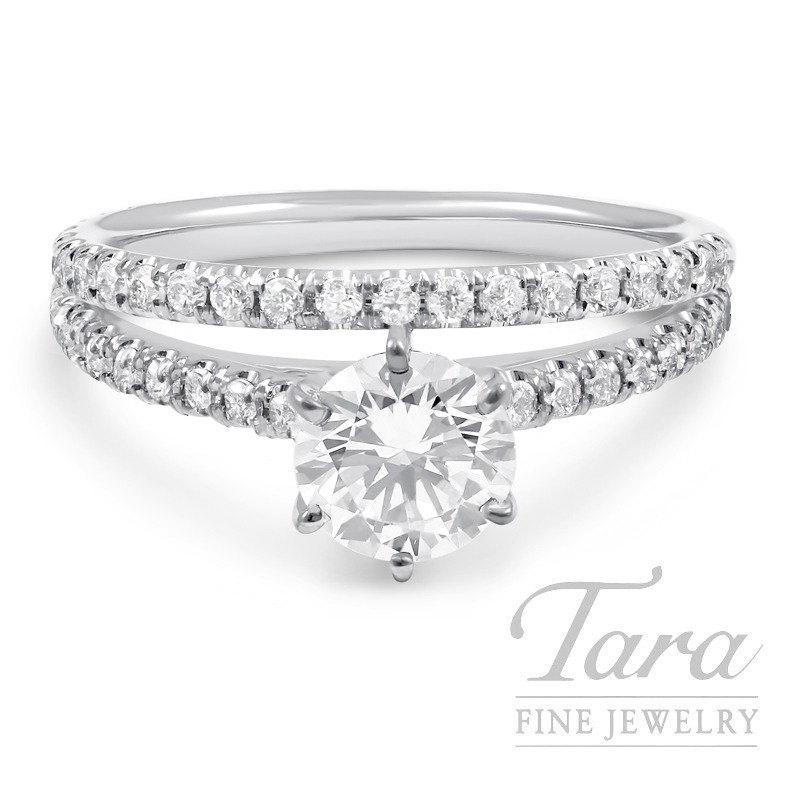 18k White Gold 6 Prong Diamond Wedding Set, .80TDW (Center Stone Sold Separately)