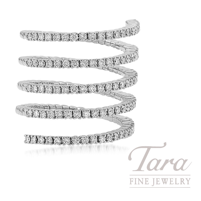 18K White Gold Diamond Wrap Ring, 9.2G, .95TDW