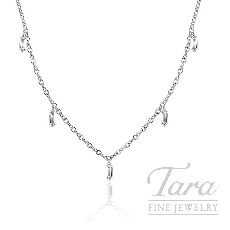 "18k White Gold Baguette Diamond Stationary Necklace, 16/18"" Chain, 4.2G, .59TDW"