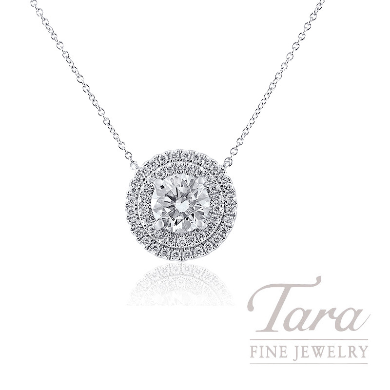 A. Jaffe 18K White Gold Double Halo Forevermark Diamond Pendant, 1.51CT Forevermark Diamond, 5.3G, .41TDW