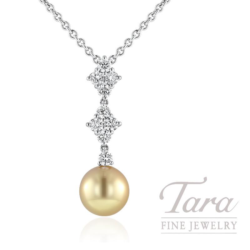 Mikimoto 18k White Gold Golden South Sea Pearl and Diamond Pendant, .73TDW