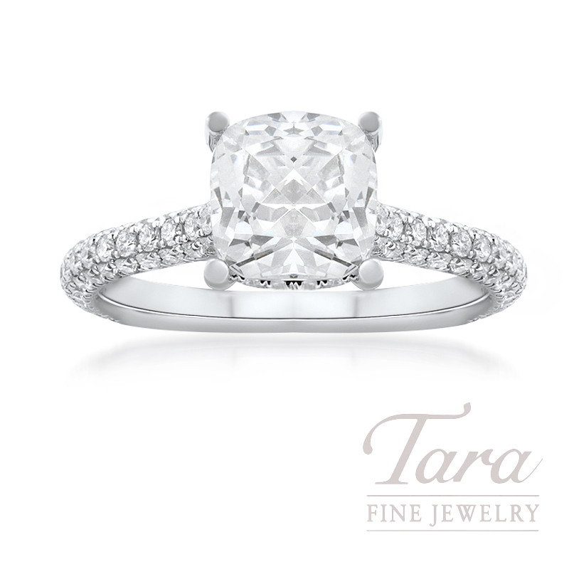 18k White Gold Cushion Cut Pave Diamond Engagement Ring, 3.5G, .85TDW (Center Stone Sold Separately)