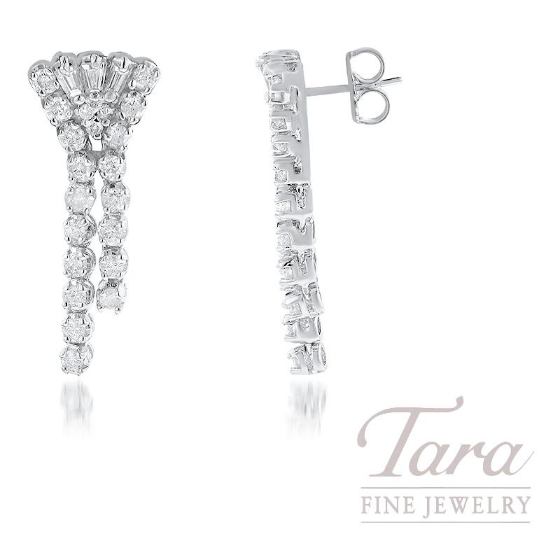 14k White Gold Diamond Dangle Earrings 7 3g 42 Round Diamonds 1 25tdw And 6 Baguette 0 18tdw