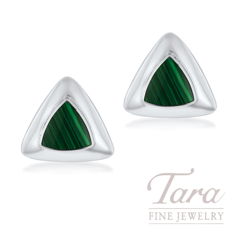 Sterling Silver Triangle Malichite Earrings, 5.2G