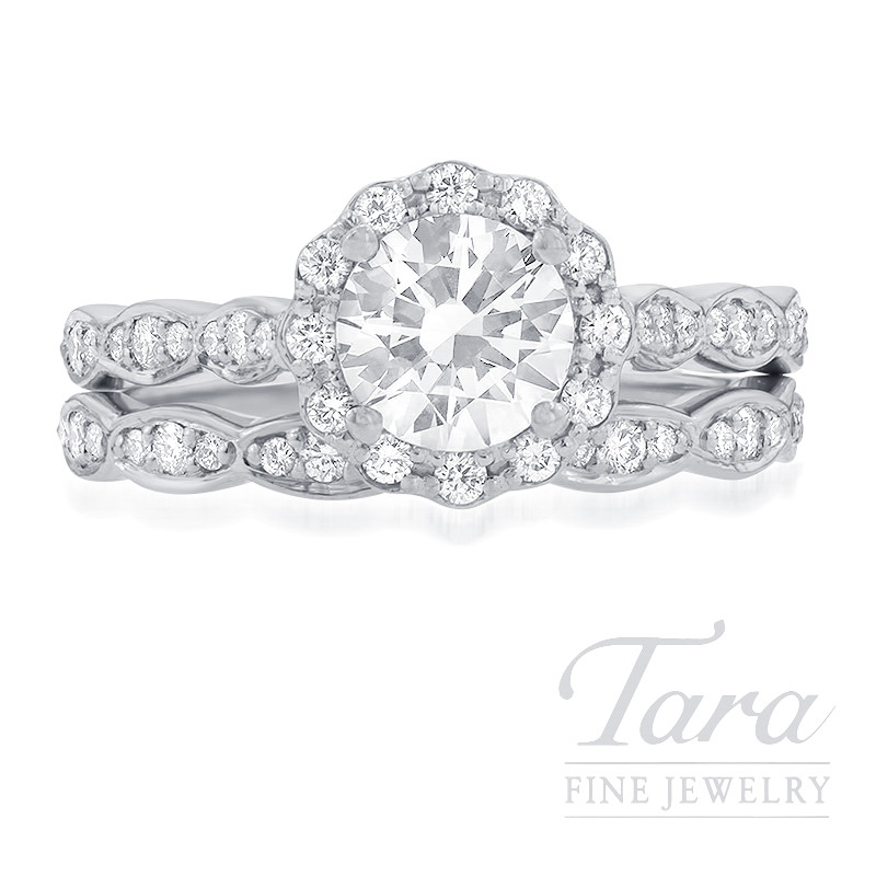 Ritani 18k White Gold Diamond Halo Wedding Set, .48TDW (Center Stone Sold Separately)