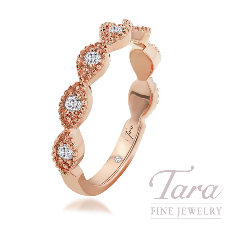 18K Rose Gold Diamond Fashion Ring, 3.4G, .20TDW