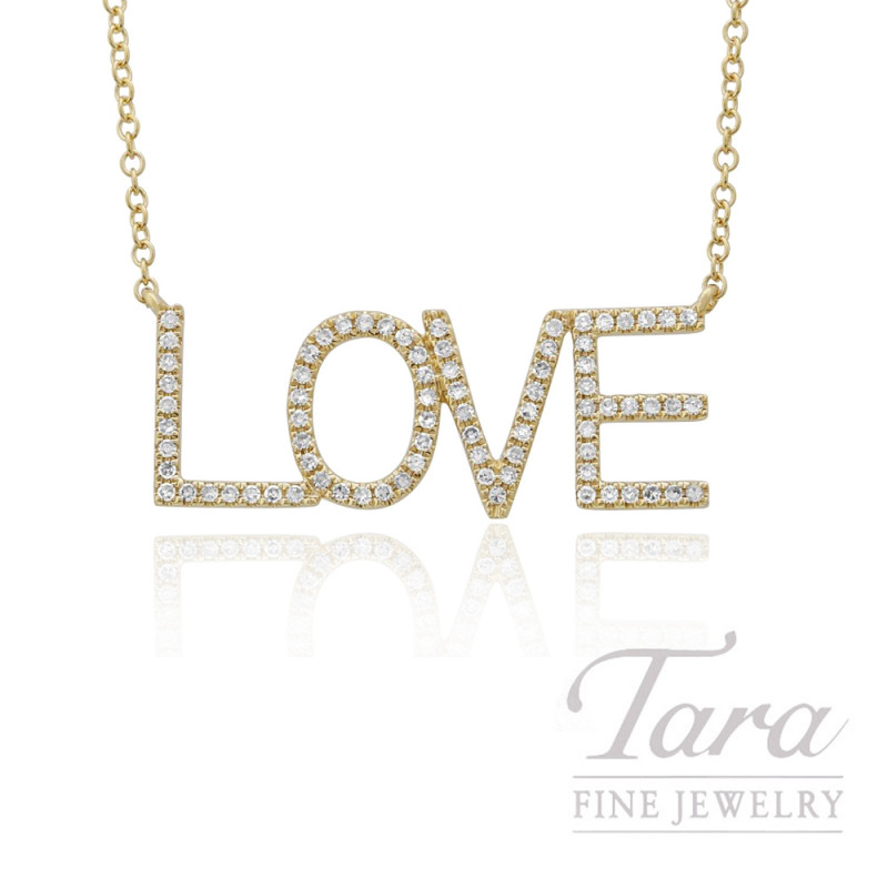 "14k Yellow Gold ""LOVE"" Diamond Necklace, 16/18"" Chain, .19TDW"