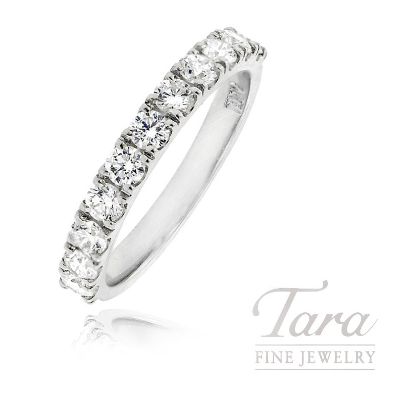 Diamond Band in 18K White Gold, .75 TDW.