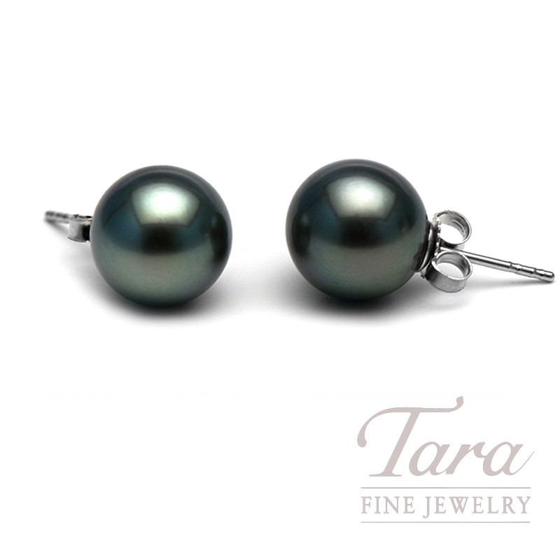14K White Gold Tahitian Pearl Studs, 8.75-9mm