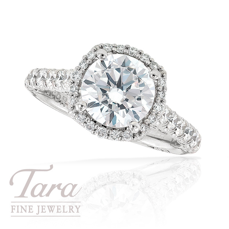 Tacori Diamond Engagement Ring in Platinum, .77 ctw (Center stone sold separately)
