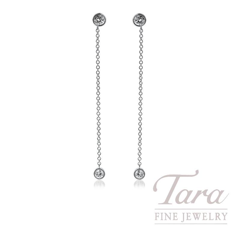 18k White Gold Diamond Dangle Earrings, .99TDW
