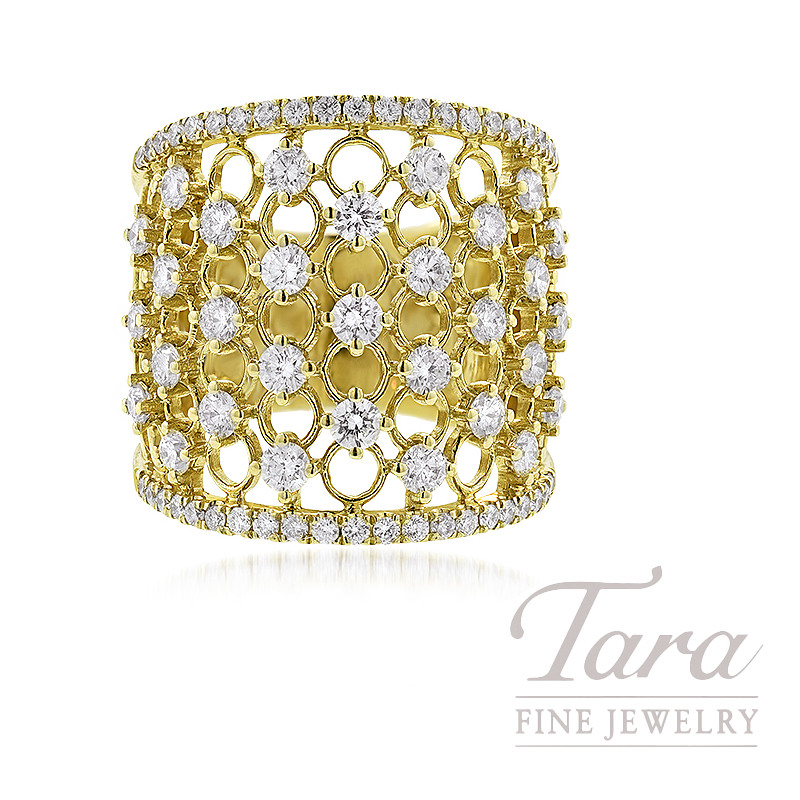 18K Yellow Gold Diamond Fashion Ring , 10.7G, 1.78TDW