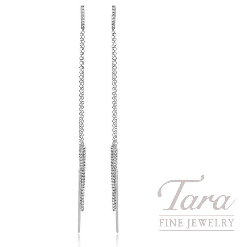 18K White Gold Pointed Pave Diamond Earrings, 3.8G, .24TDW