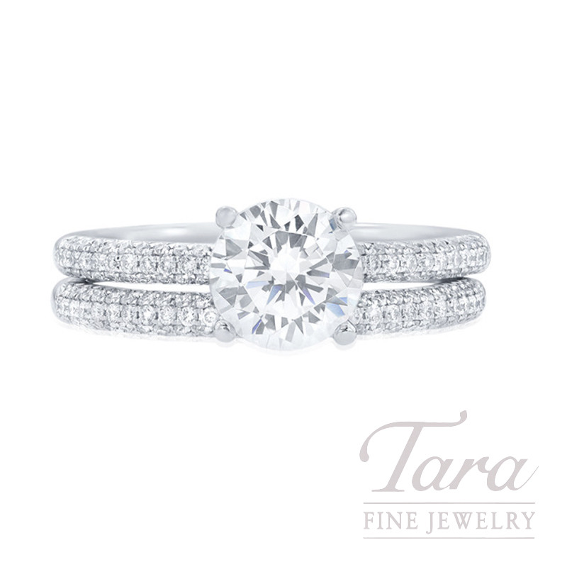 18k White Gold Pave Diamond Wedding Set, .43TDW (Center Stone Sold Separately)