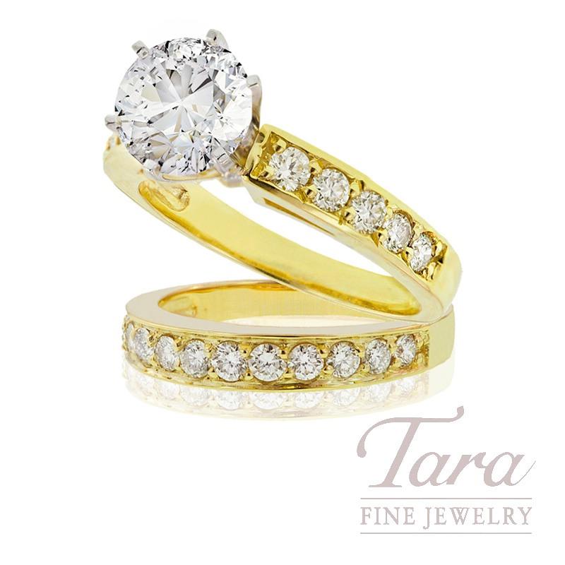 18K Yellow Gold Diamond Wedding Set, .98TDW (Center Stone Sold Separately)