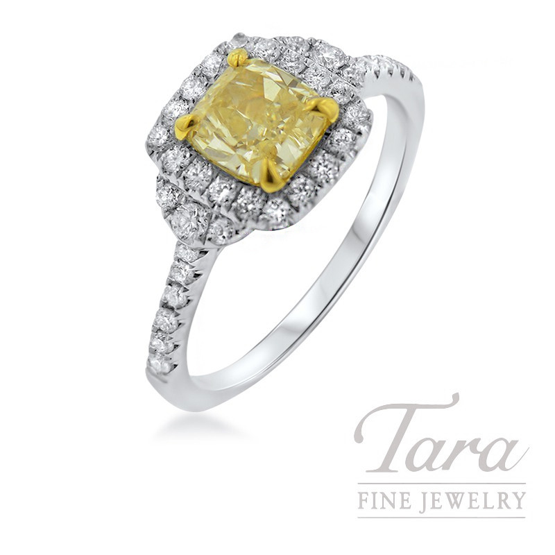 Forevermark 18K White Gold Diamond Ring, 1.04CT Yellow Diamond, .43TDW