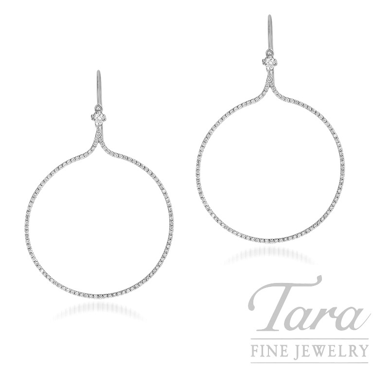 Norman Covan 18k White Gold Diamond Earrings, 5.3G, 1.23TDW