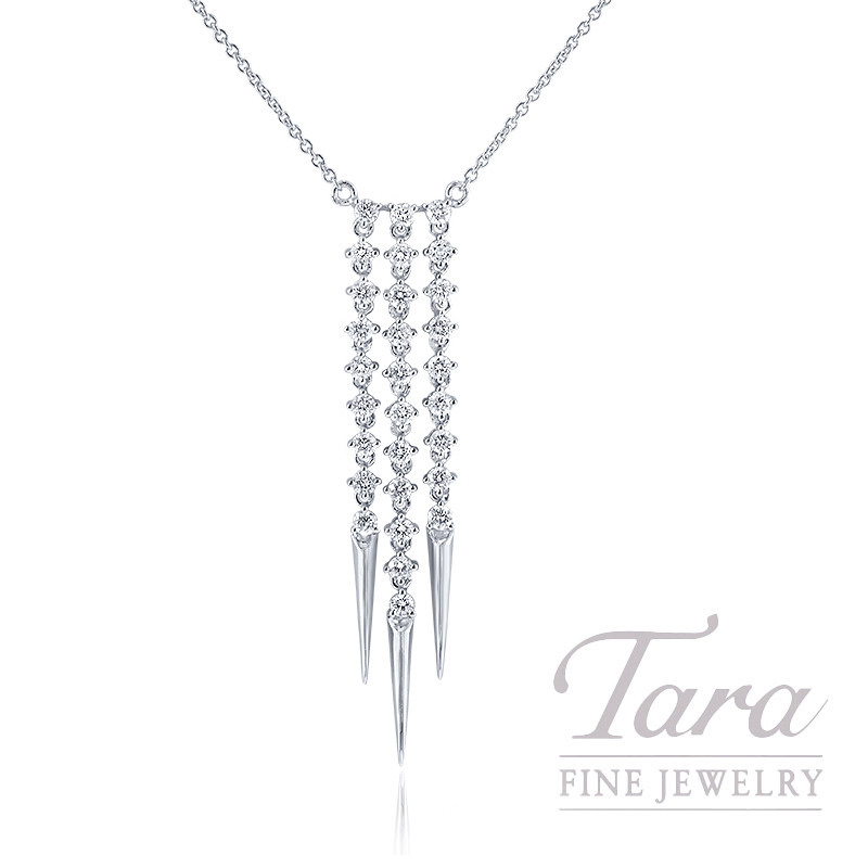 "18K White Gold Diamond Dangle Necklace, 16/18"" Chain, 5.6G, .86TDW"