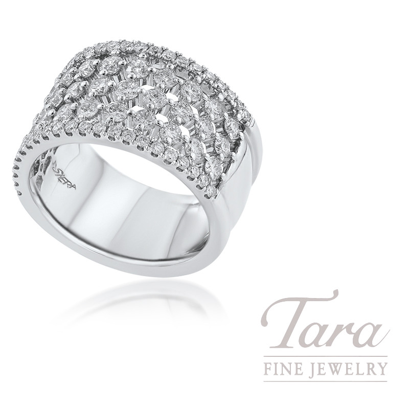 18K White Gold Diamond Fashion Ring, 9.5G, 1.76TDW