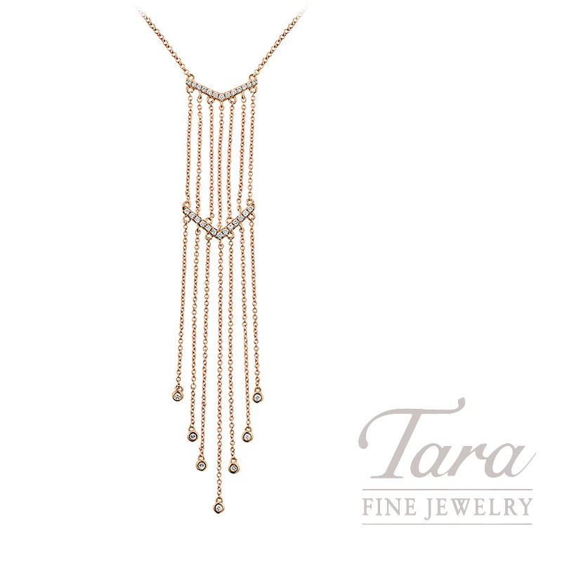 "18K Rose Gold Diamond Dangle Necklace, 17/18"" Chain 4.6G, .21TDW"
