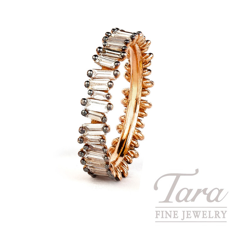 18K Rose Gold and Black Rhodium Diamond Baguette Stackable Band, 3.3G, 1.60TDW