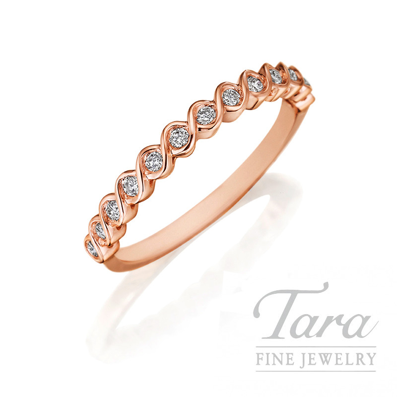 Henri Daussi 14k Rose Gold Diamond Band, .17TDW