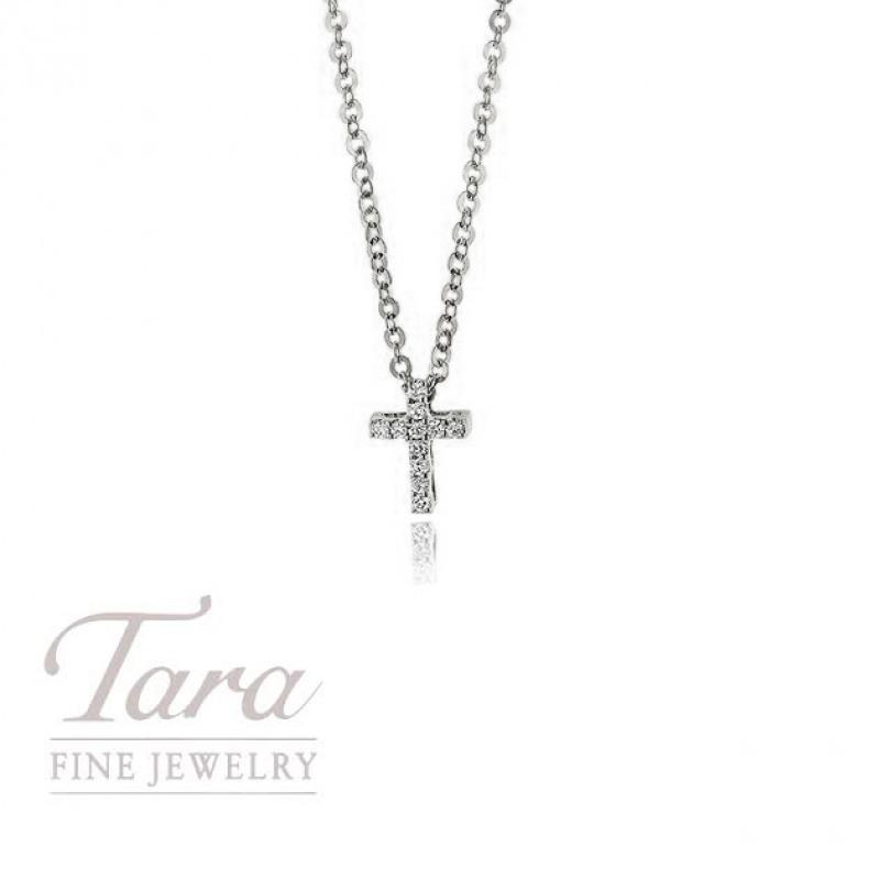 "18K White Gold Diamond Cross Pendant, 16/18"" Chain, .04TDW"