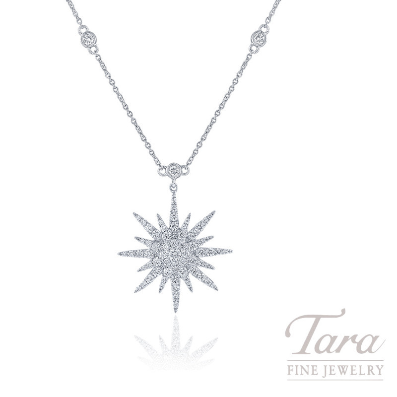 "18K White Gold Sparkler Diamond Necklace, 16/18"" Chain, 4.8G, .88TDW"