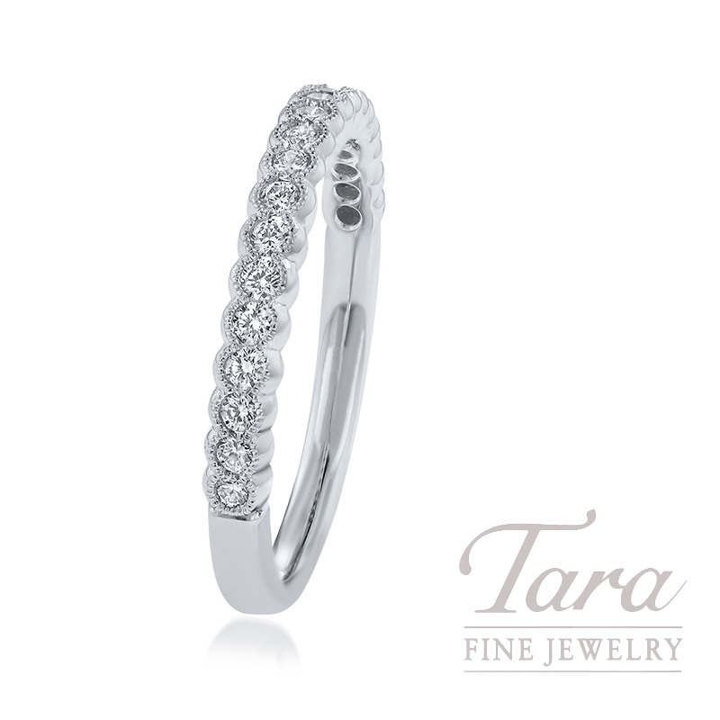 18k White Gold Diamond Stackable Band, .28TDW