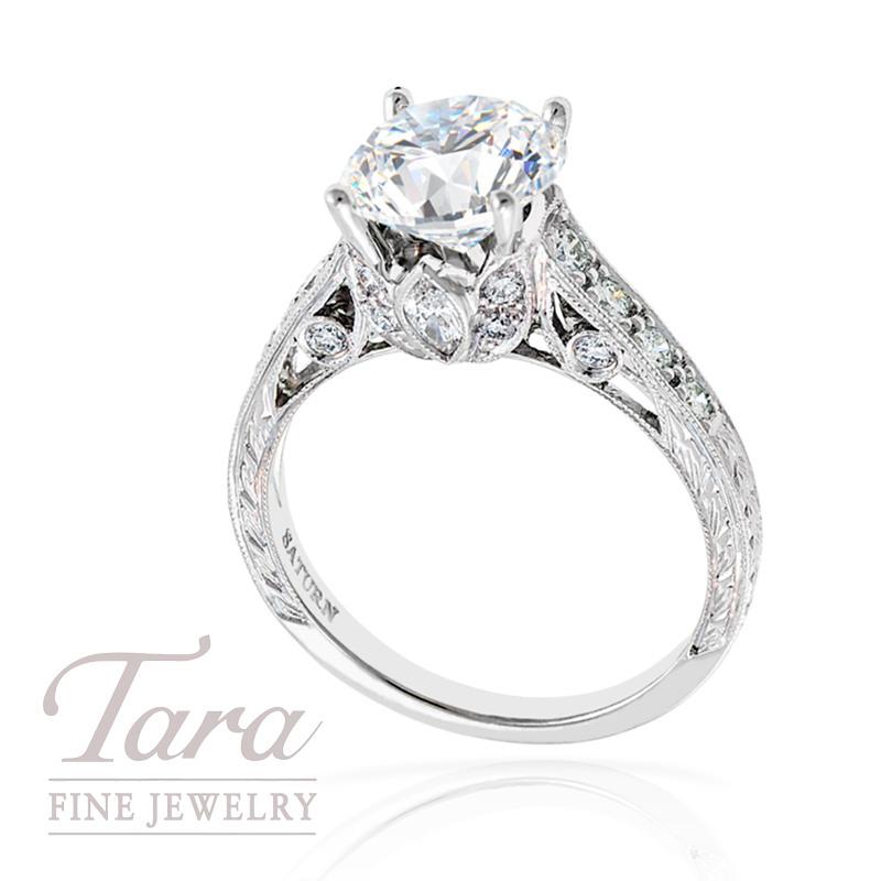 Diamond Engagement Ring in 18k White Gold, .67tdw (Center stone sold separately)