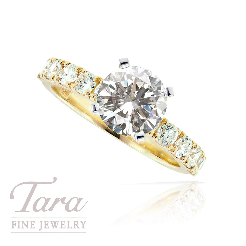 Diamond Engagement Ring in 18K Yellow Gold, .69 TDW