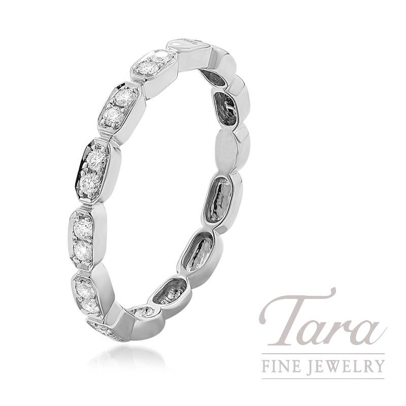18k White Gold Diamond Cluster Stackable Ring, 2.0G, .17TDW